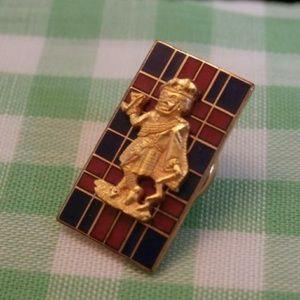 Vintage Scottish Plaid Screwback Pin Man on Tartan